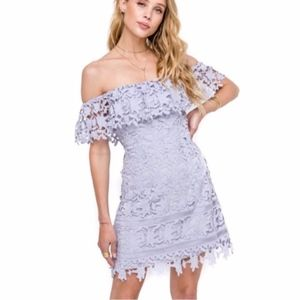 ASTR the Label Off the Shoulder Lace Minidress L